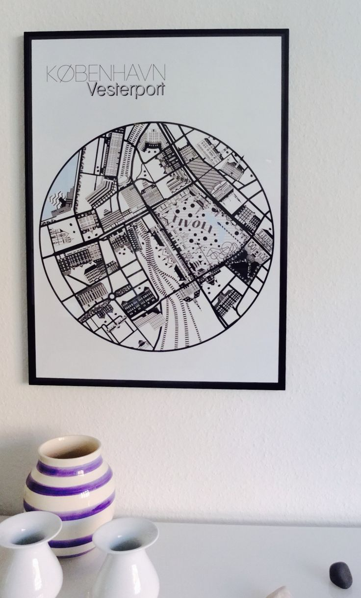 København Vesterport  Map of Copenhagen Vesterport Poster 50x70
