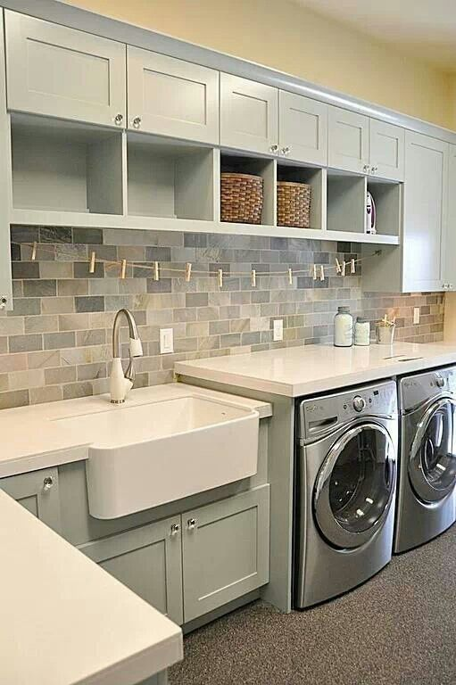Country Laundry Room with Rohl - rrc3018wh shaws apron front sink, Paint 2, Carpet, Paint 1, Built-in bookshelf, laundry sink
