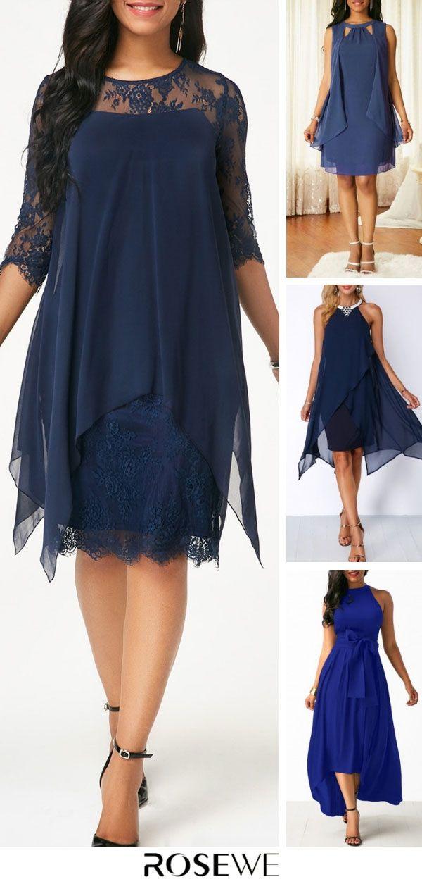 1307fb8967 Chiffon Overlay Navy Three Quarter Sleeve Lace Blue Dress. free shipping  worldwide, #rosewe#dress