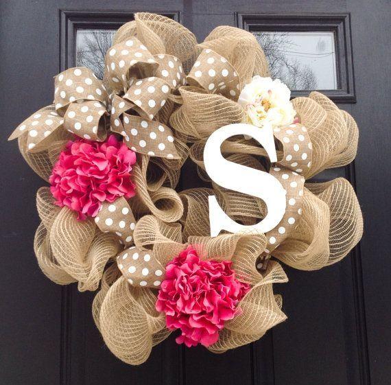 Monogrammed Wreath-Spring Wreath- Summer Wreath-Burlap Wreath-Deco a Mesh Wreath