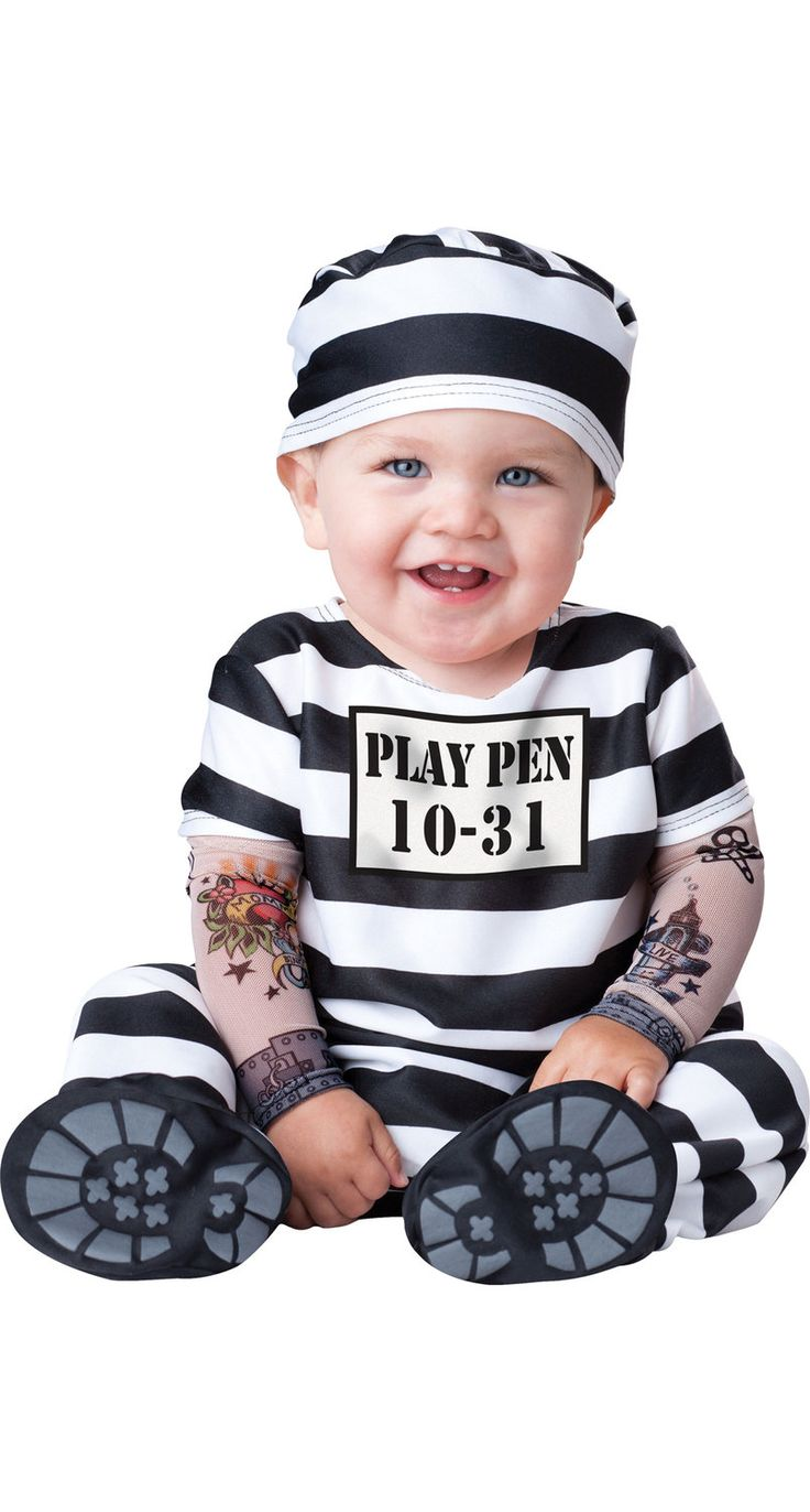 Convict Time Out Baby Costume Convict Costumes - Mr. Costumes Bella Inmate Costume
