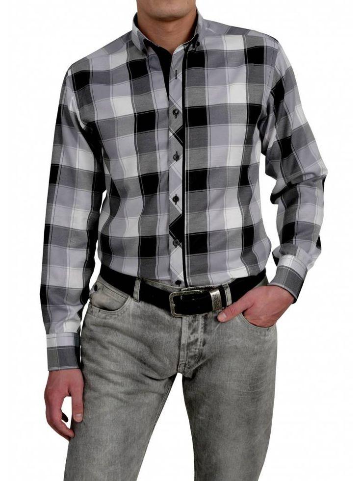 Een mooi blokjes overhemd van het merk Vegea met de kleuren grijs, wit en zwart.