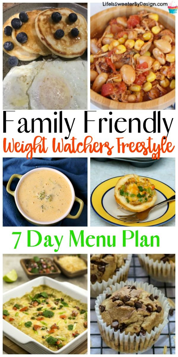 Family friendly Weight Watchers Freestyle Meal Plan for 7 days. This is a Weight Watchers menu plan that even kids will like and has freestyle SmartPoints too!