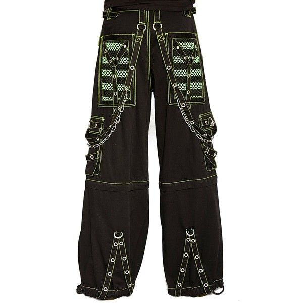 Tripp Chain Electro Cyber Goth Bondage Rave Pants ($81) ❤ liked on Polyvore featuring pants, gothic trousers, tripp pants, wide-leg pants, chain pants and gothic pants