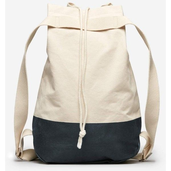 Everlane Men's Beach Canvas Backpack ($40) ❤ liked on Polyvore featuring men's fashion, men's bags, men's backpacks, knapsack bag, navy blue canvas backpack, canvas bag, canvas beach bag and canvas backpack