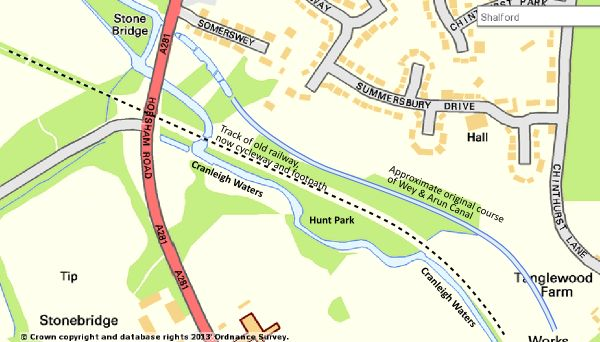 Map showing location of Hunt Park, close to the junction of the Wey & Arun Canal with the River Wey Navigation in Shalford.