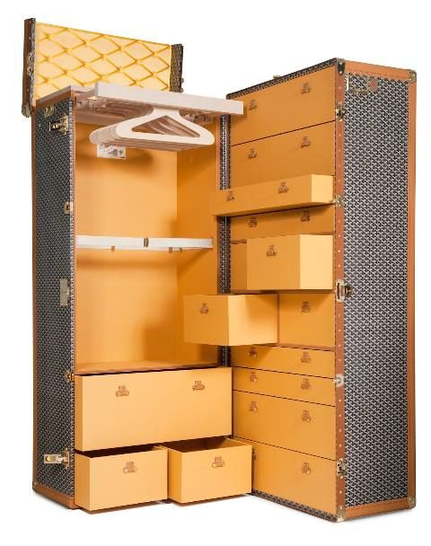 Goyard Wardrobe trunk, special order, entirely handmade by our skilled artisans in our workshops in the south of France.