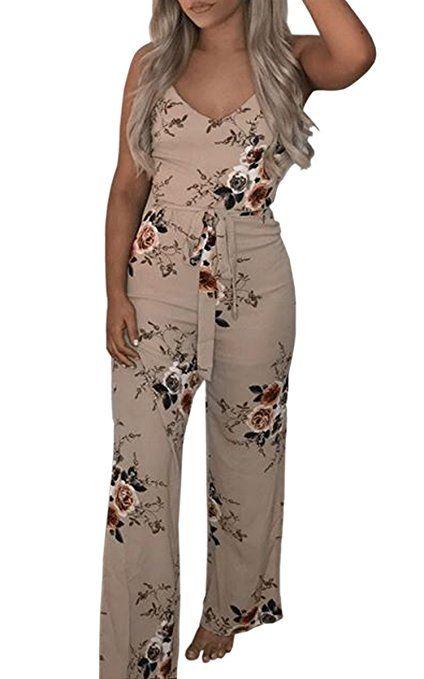 56d2cf4c27ff ECOWISH Jumpsuit Damen Elegant V Ausschnitt Hosenanzug Sommer Blumenmuster  Ärmellos Overall Khaki S