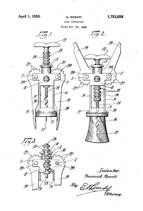16 best images about corkscrews patentes on pinterest artworks technology and poster vintage. Black Bedroom Furniture Sets. Home Design Ideas