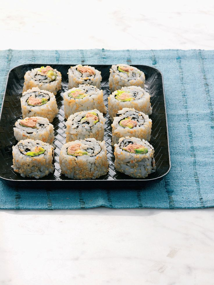 Try a taste of Japan with this deliciously healthy, low-fat dish of tuna and avocado inside-out maki.