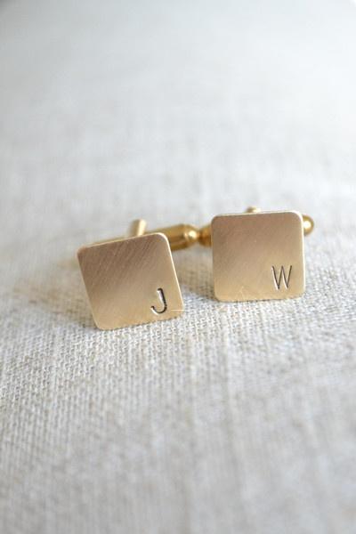 White Truffle Studio — Personalized Initial Mini Cufflinks - Hand Stamped in Brass