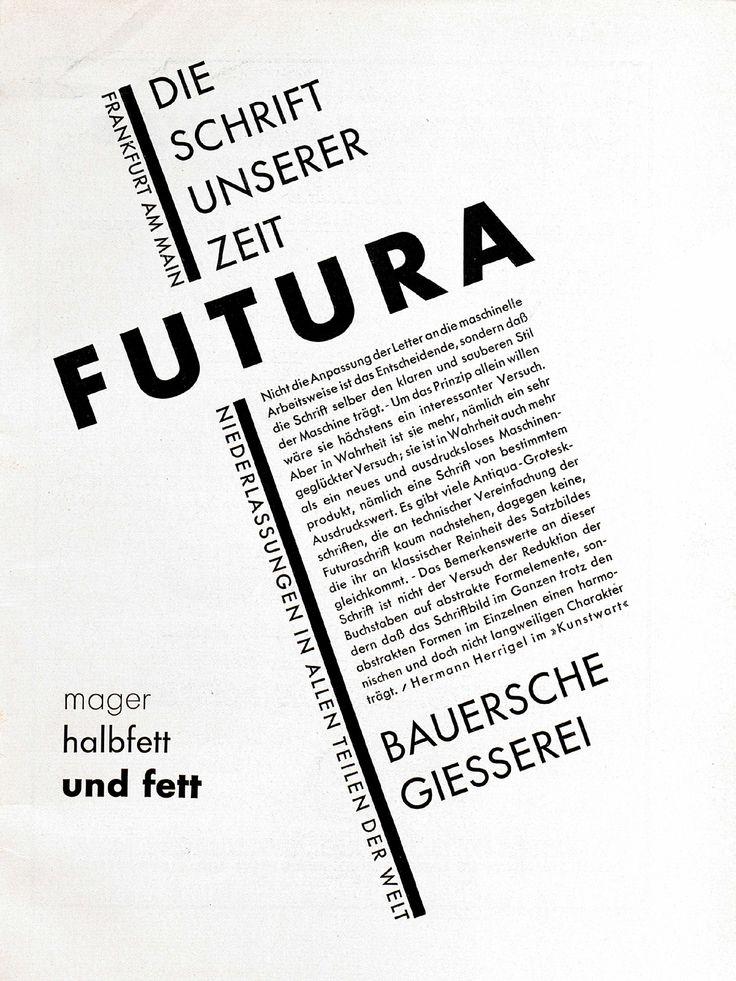 """Futura Anzeige, """"Schrift unserer Zeit"""", (Diagonal), Bauersche Giesserei Gebrauchsgraphik, Jhg. 6, Heft 4 (April) 1929, S. 1"""