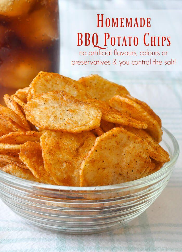 Homemade Barbecue Potato Chips - no artificial flavours, colours or preservatives and you control the salt!