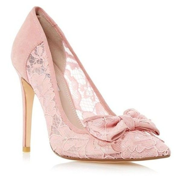 Dune Light pink 'Bodine' lace bow trim high heel court shoe ❤ liked on Polyvore featuring shoes, pumps, heel pump, light pink shoes, slim shoes, high heel pumps and high heel shoes