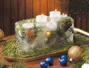Fire-and-Ice Holiday Centerpiece:  Materials Needed:  Artificial or natural pine greens and pinecones  Small gold plastic balls  Gold string beads  Freezer-safe container with smooth, straight sides  Distilled water  Tea light candles in clear containers  Edged tray to hold centerpiece  Fresh greens~~