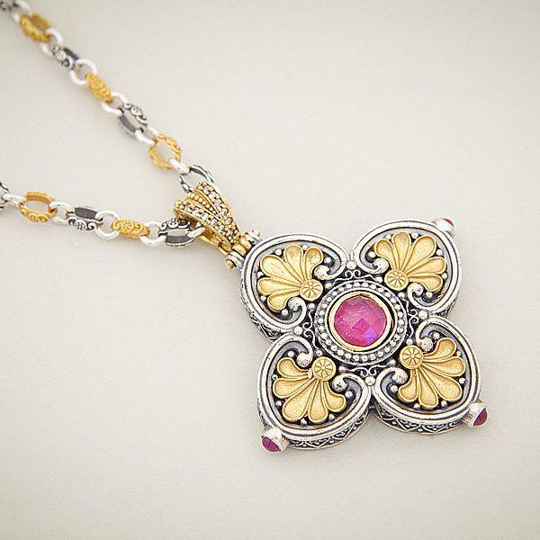 byzantine pink gold pendant necklace dimitrios exclusive
