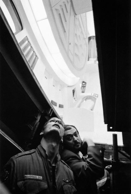 Keir Dullea and Stanley Kubrick on the Discovery set.
