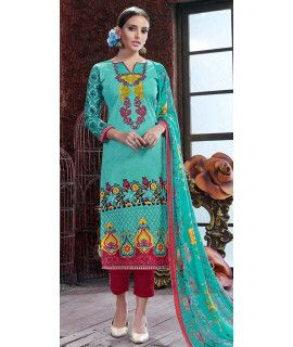 Eye-Catchy Green And Red Cotton Straight Suit.