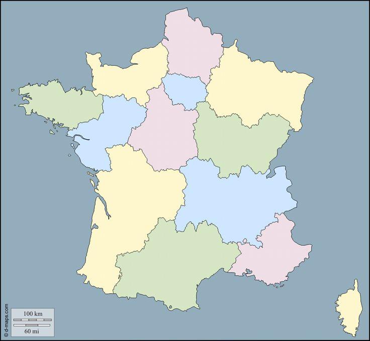 France : carte géographique gratuite, carte géographique muette gratuite, carte vierge gratuite, fond de carte gratuit : contours, nouvelles Régions, couleur