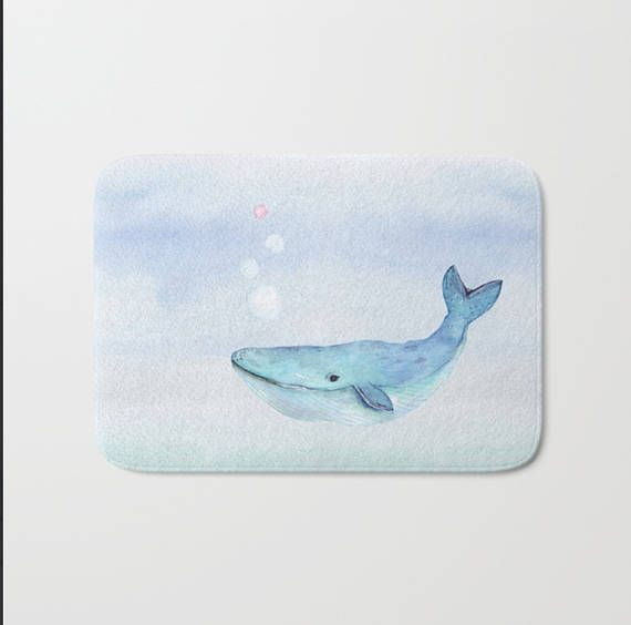 Whale Nautical  Bath Mat Watercolor Design Life Under the Sea