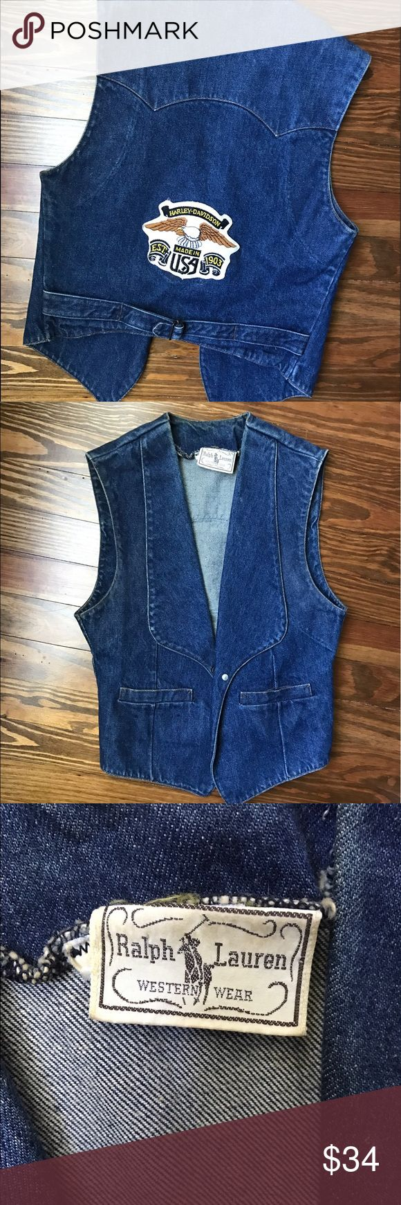 Vintage Ralph Lauren Western denim vest Vintage one of a kind Ralph Lauren denim jean vest. Apart of his Western Wear collection with a Harley Davidson patch on the back. Fits a size small Ralph Lauren Tops