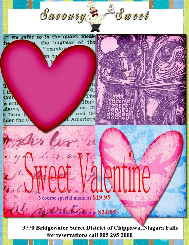 Poster for Valentine Day February 14 2014 at Savoury and Sweet Restaurant