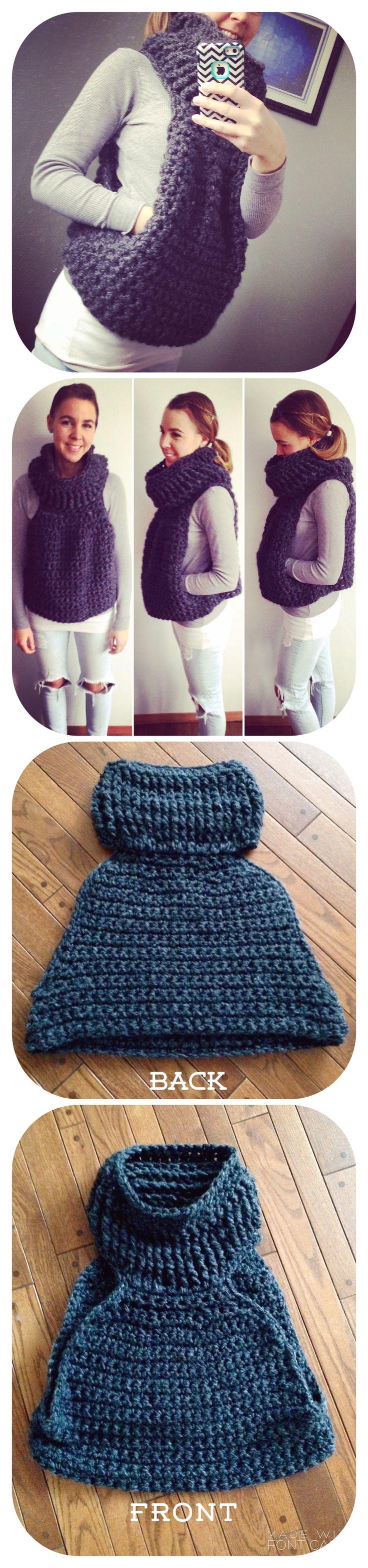 Miner's vest, chunky cowl neck vest,crochet vest,cozy outfit,cozy attire