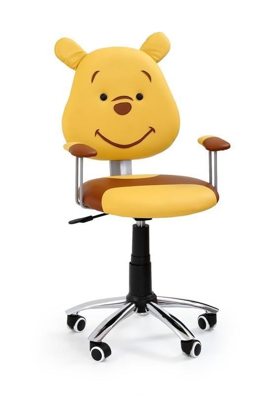 Teddy is een moderne kinderbureaustoel uitgevoerd met een verchroomd stalen poot afgewerkt met zwart kunststof en zwarte kunststof wieltjes aan de onderzijde. De zitting is gemaakt van kunstleer en is uitgevoerd in de vorm van een teddybeer, erg leuk en zeer decoratief op bijvoorbeeld een kinderkamer!