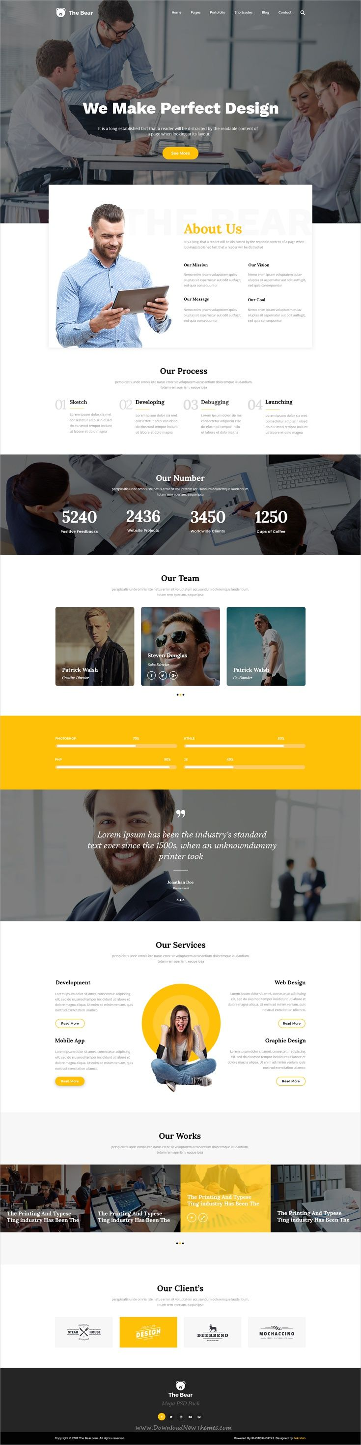 The bear is a clean and trendy #PSD Template for multipurpose #onepage business website with 6 homepage layouts download now➩ https://themeforest.net/item/hepta-one-page-psd-business-template/18906836?ref=Datasata