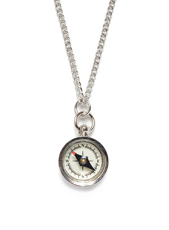Miniature compass necklace Silver chain for men by weareallsmith
