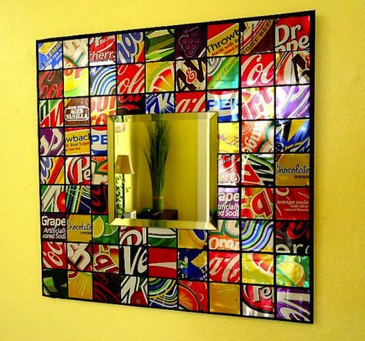 Recycled Soda Can Mosiac Tile Mirror - awesome!