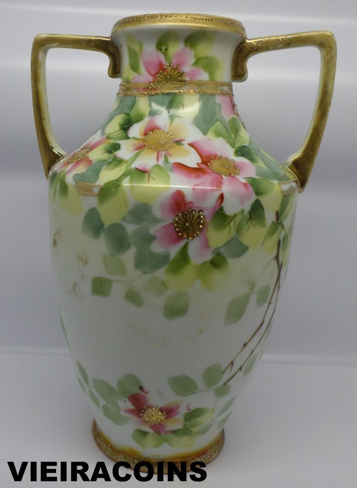 Vintage Nippon M Hand Painted Flowers With Gold Trim Vase 8 Inches Tall 5739 Nippon Hand