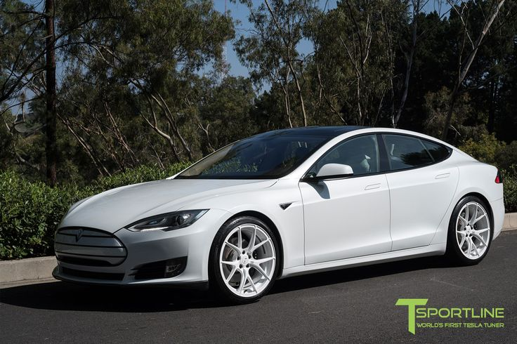 White Tesla Model S with Bright White TS115 21 Inch Forged Wheels by T Sportline