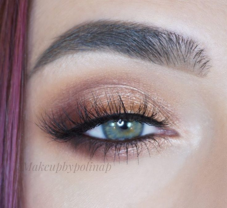 Everyday Look by Polina Pyshkina. Makeup Geek Eyeshadows in Bitten, Cherry Cola, Peach Smoothie, Shimma Shimma, Tiki Hut, and Grandstand. Makeup Geek Full Spectrum Eye Liner Pencil Espresso.