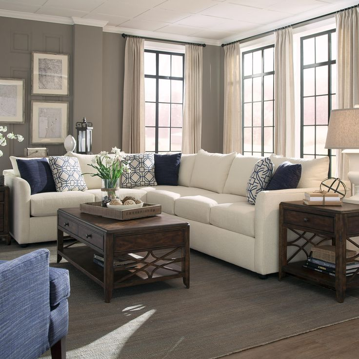 Atlanta Transitional Sectional Sofa With Tuxedo Arms By Trisha Yearwood  Home Collection By Klaussner