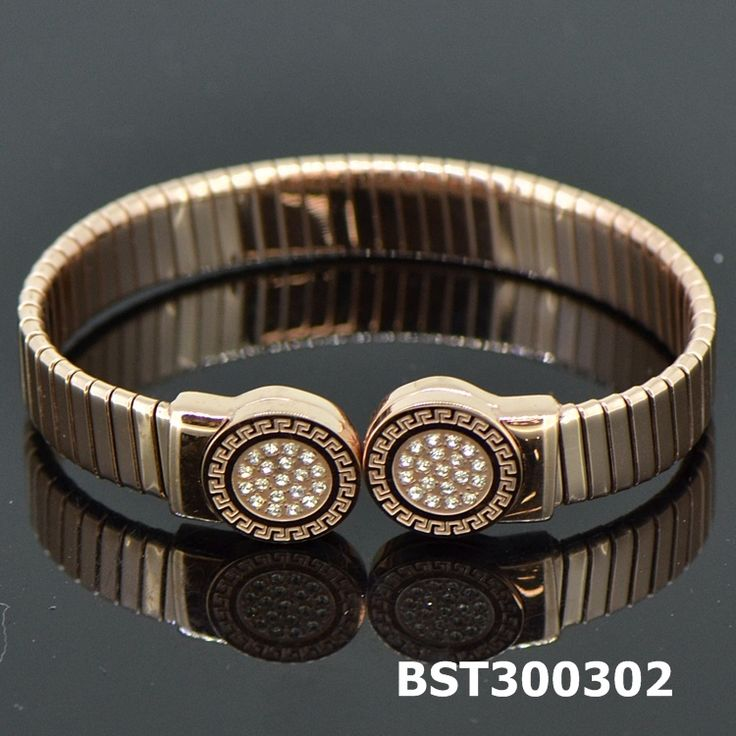 Fashion Stainless Steel Rose Golden Bangle CZ#BST300302