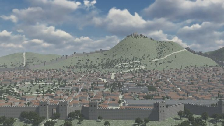 Reconstruction of ancient Corinth city as it was in II century AD, in Roman Empire ages. It contains the whole city, the central part with Agora, temple of A...