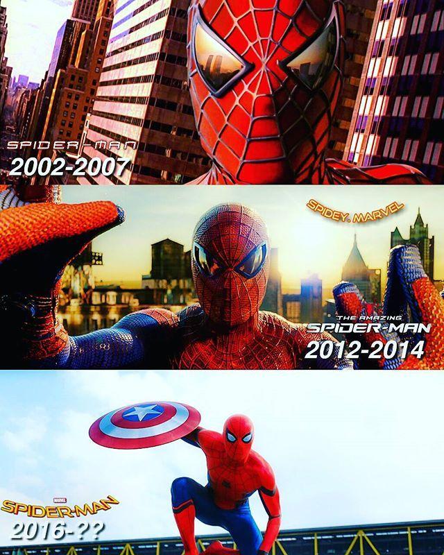 Tobey Maguire: Spider-Man (2002), Spider-Man 2 (2004), Spider-Man 3 (2007) / Andrew Garfield: The Amazing Spider-Man (2012), The Amazing Spider-Man 2 (2014) / Tom Holland: Captain America: Civil War (2016), Spider-Man: Homecoming (2017)