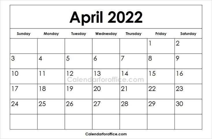 2022 April Calendar Printable Images February Calendar April