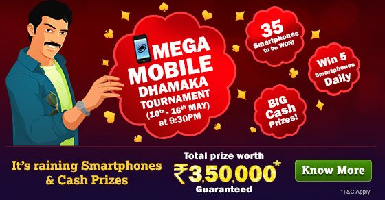 Today, KhelPlay Rummy launched its much awaited tournament called Mega Mobile Dhamaka! This ongoing Tournament (May 10th to May 16th) allows Cash Players to Win from Rs. 3,50,000 that includes 35 Smartphones and other exciting Cash Prizes. The Tournament is designed particularly to suit interests of all Indian rummy players who are keen on winning a prize!  It's giving away five Smartphones daily to the top five winners and the remaining would get cash prizes. The total prize of the…