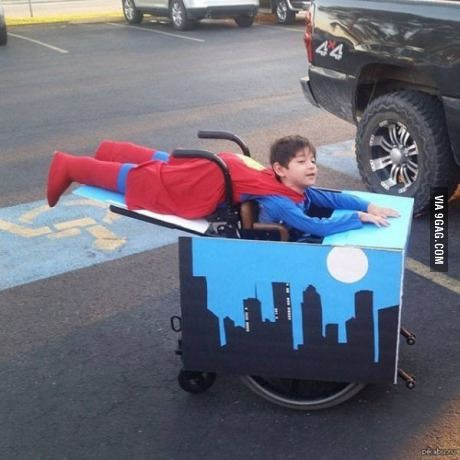 Salute to his Parents...boy in wheelchair gets awesome Halloween costume for himself & the chair