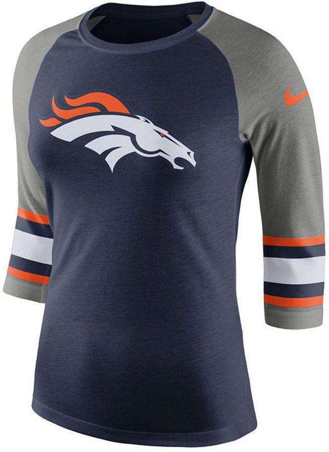 Nike Women s Denver Broncos Stripe Raglan Triblend T-Shirt  c43f38e7f