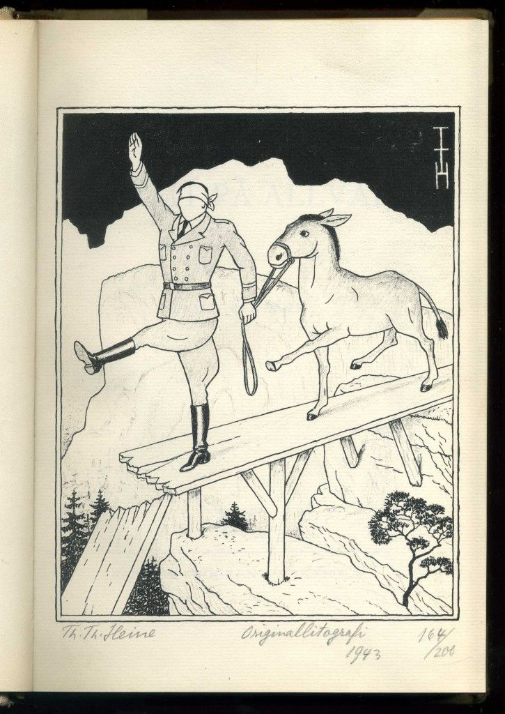 Th Th (Thomas Theodor) Heine, a signed Anti-Nazi lithograph in Skämt Pa Allvar (1943)