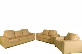 Audria Cream Living Room Set, leather