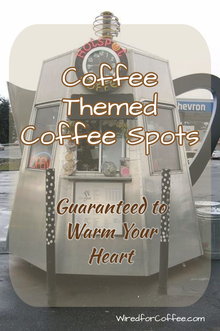 These are fun coffee themed coffee shops around the US and Canada.   In the US they were very popular in the '20s. But most fell into disrepair or were torn down.   Some were restored and a new wave of shops has appeared over the last 10 years.