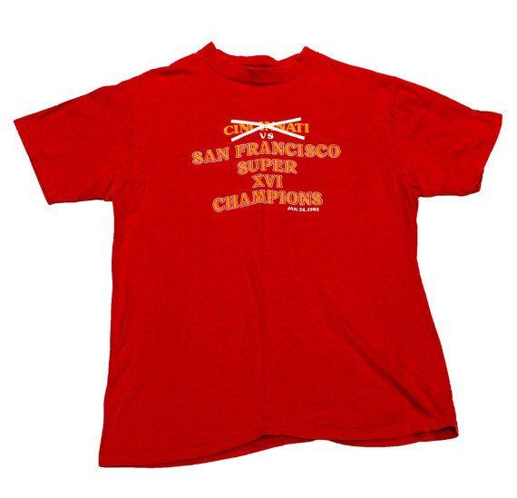 Vintage 1982 San Francisco 49ers Super Bowl XVI Champions Shirt Mens Size Large (Slim Fit)