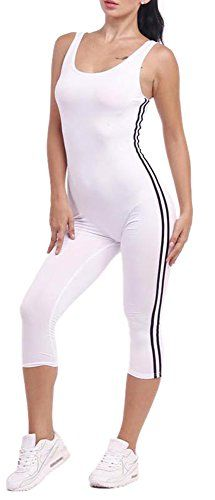 New Trending Bodysuits: Womens Romper Stripe Backless High Waist Bodycon Jumpsuit Yoga Bodysuits White M. Womens Romper Stripe Backless High Waist Bodycon Jumpsuit Yoga Bodysuits White M  Special Offer: $14.80  466 Reviews Delcoce Women's Cute Wide Strap Sleeveless Low Cut Back Stripes Side Stretch Bodycon Casual Sport Fitness Workout Running Yoga Dance Party Night Out Capri Pants...