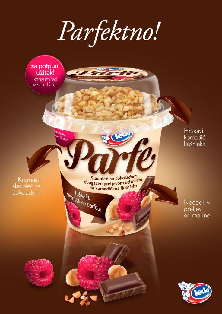 NOVO - Ledo Parfe Čašica  - Sladoled od čokolade obogaćen preljevom od maline te komadićima lješnjaka   http://www.ledo.hr/hr/novosti/ledo-parfe-casica-novi-cokoladni-zavodnik-stize-u-grad