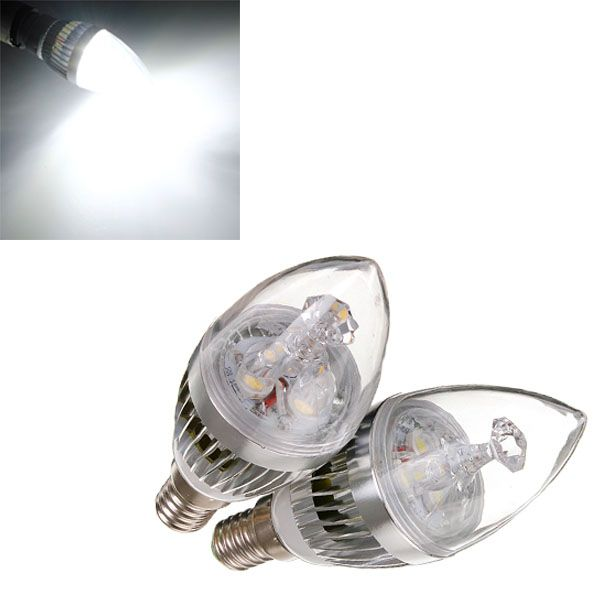 Dimmable E14 6w 3 Led Cool White Led Silver Candle Bulb 220v Candle Bulbs Silver Candle White Lead