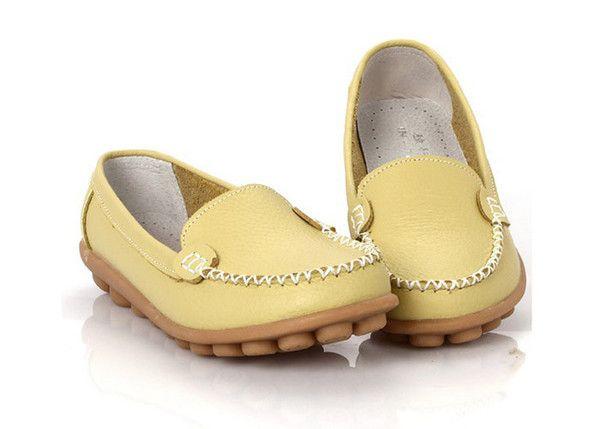 Genuine Soft Leather Anti-Skid Slip-On Closure Closed Round Toe Flat Shoes - 8 Colors